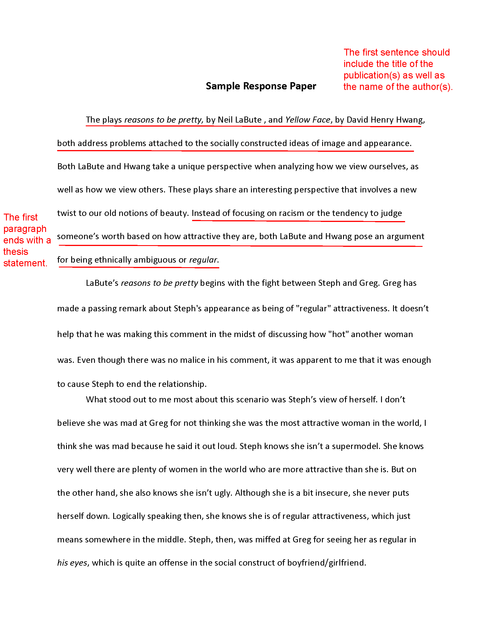How to write a personal response essay